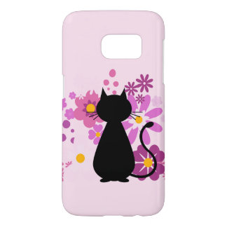 Cat in Pink Flowers Samsung Galaxy S7 Case