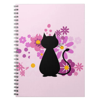 Cat in Pink Flowers Spiral Notebook