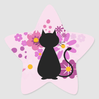 Cat in Pink Flowers Star Stickers