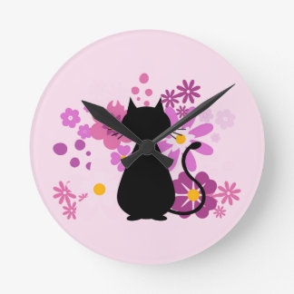 Cat in Pink Flowers  Wall Clock