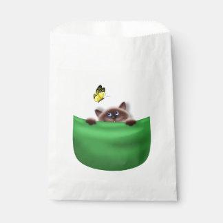 Cat in Pocket Favour Bag