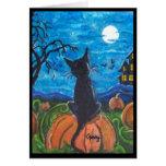 Cat in pumpkin patch Greeting Card