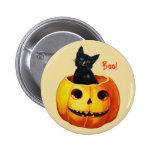 Cat in Pumpkin Vintage Halloween Button