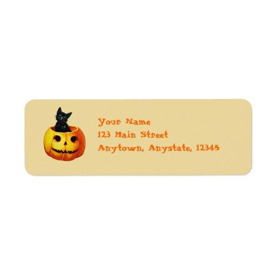 Cat in Pumpkin Vintage Halloween Labels