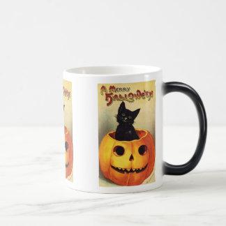 Cat In Pumpkin Vintage Halloween Morph Mug