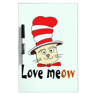 Cat In Red And White Hat Design -Meow Love Dry Erase Board