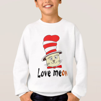 Cat In Red And White Hat Design -Meow Love Sweatshirt