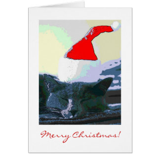 Cat in Santa Hat, Christmas Card