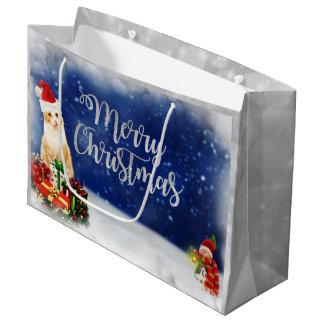 Cat in Santa Hat Merry Christmas Large Gift Bag