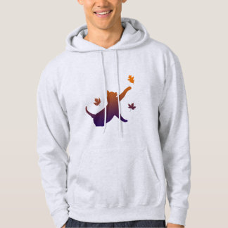 Cat in Silhouette Among the Fall Leaves Hoodie