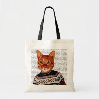 Cat in Ski Sweater 2 Budget Tote Bag