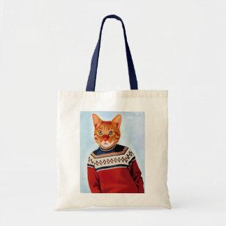 Cat in Ski Sweater Budget Tote Bag