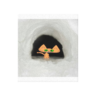 Cat In Snow Cave Stretched Canvas Prints