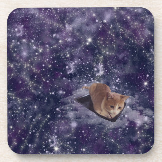 Cat In Space Purple Galaxy Coasters