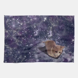 Cat In Space Purple Galaxy Tea Towel
