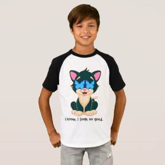 cat in style with glasses for boy T-Shirt