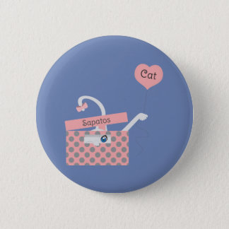 Cat in the box 6 cm round badge