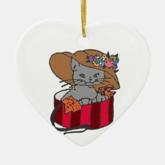 Cat in the Box Ceramic Heart Decoration