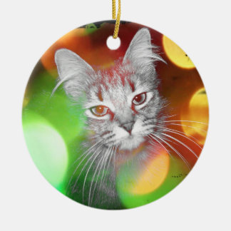 Cat in the Christmas Lights Artwork Round Ceramic Decoration