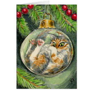Cat in the Christmas ornament card