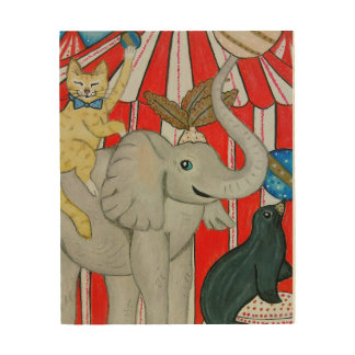 Cat in the circus with elephant and seal wood print