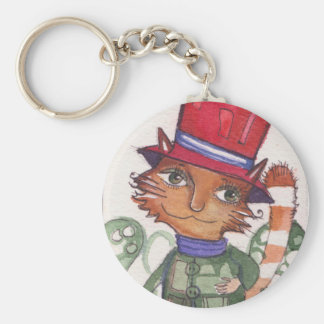 Cat in the Hat Basic Round Button Key Ring