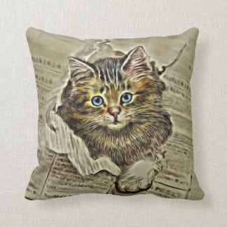 CAT IN THE MEWSPAPER, Vintage Cat Collage Cushion
