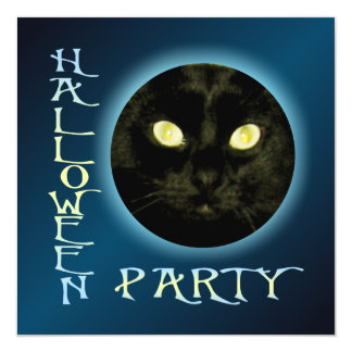 "Cat in the Moon Halloween Party Invitations 5.25"" Square Invitation Card"