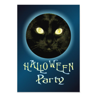 "Cat in the Moon Halloween Party Invitations 5"" X 7"" Invitation Card"