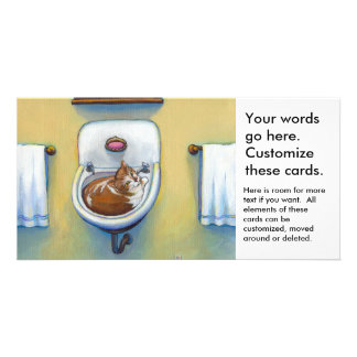 Cat in the sink painting fun happy whimsical art photo card