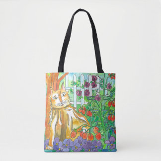 Cat In The Vegetable Garden Watercolor Painting Tote Bag