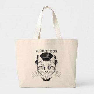 Cat in Top Hat Putting on the Ritz, Jumbo Tote Jumbo Tote Bag