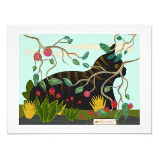 Cat in tropical garden 1 photo print