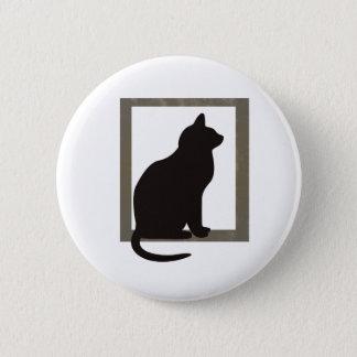Cat In Window 6 Cm Round Badge