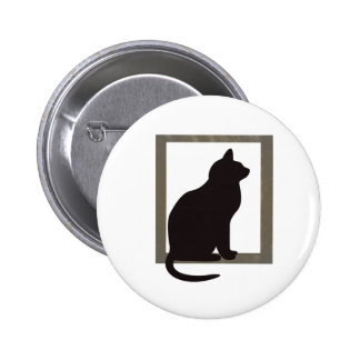 Cat In Window 6 Cm Round Badge