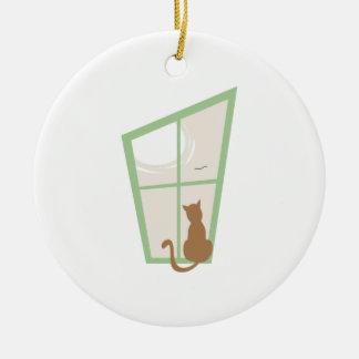 Cat In Window Christmas Tree Ornament