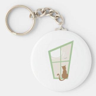 Cat In Window Key Chains