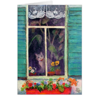 Cat in Window with Flower-box Card