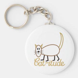 Cat-itude Attitude Basic Round Button Key Ring