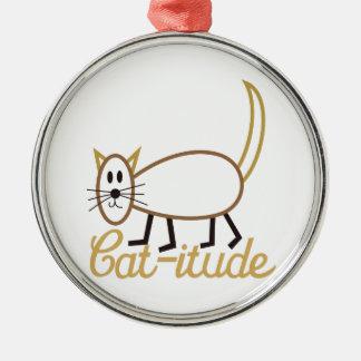 Cat-itude Attitude Silver-Colored Round Decoration