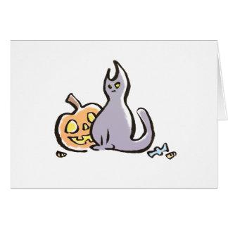 Cat & Jack-O-Lantern Greeting Card {Halloween}