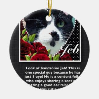 Cat: Jeb Round Ceramic Decoration