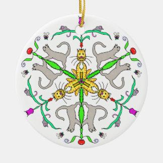Cat kaliedoscope ceramic ornament