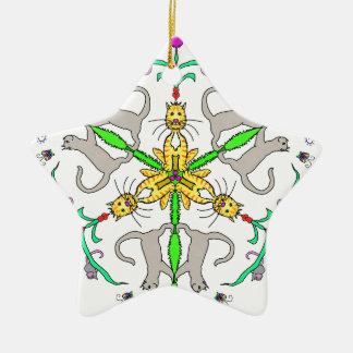 Cat kaliedoscope ceramic star decoration