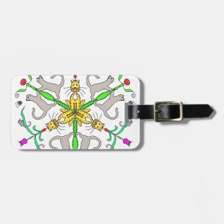 Cat kaliedoscope luggage tag