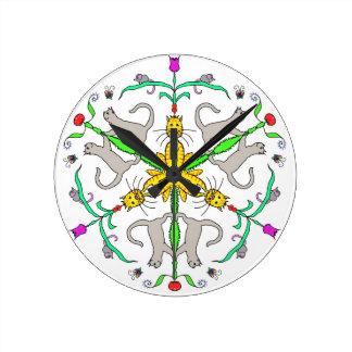 Cat kaliedoscope round clock