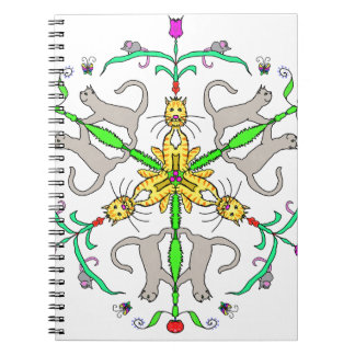 Cat kaliedoscope spiral note book