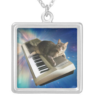 cat keyboard silver plated necklace