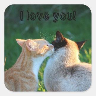 Cat kiss cat lovers square sticker