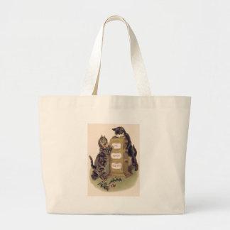 Cat Kitten Calendar Holly Jumbo Tote Bag